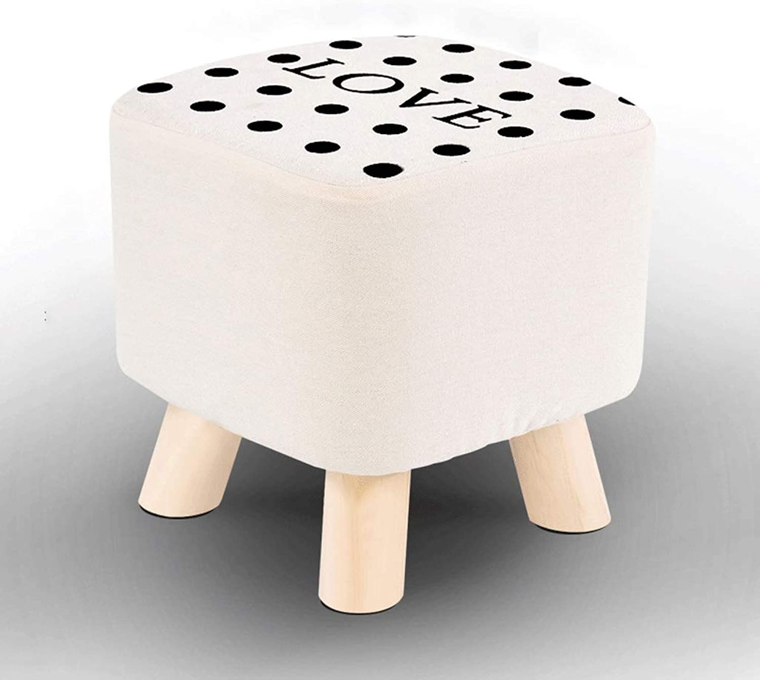 Solid Wood Stool Home Versatile Can Change shoes Stool High Elastic Sponge Cushion Detachable Seat Cover Beech Small Stool (color   H, Size   25CM×28CM)