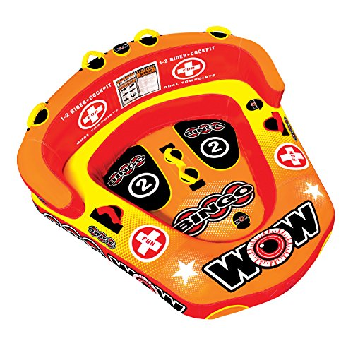WOW World of Watersports Bingo Cockpit 1 or 2 Person Inflatable Towable Cockpit Tube for Boating, 14-1060