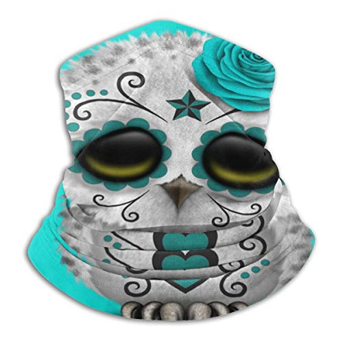 Sugar Skull Owl Neck Gaiter Tube Scarf UV Resistant Sport Headwear Cold Weather Winter Warmer Face Mask for Unisex Outdoor Fishing Hiking Running Cycling Balaclavas