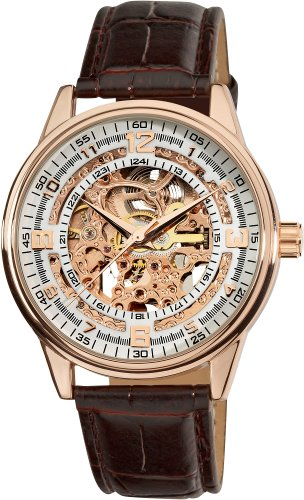 Akribos Automatic Skeleton Mechanical Men's Watch - 'Saturnos' Embossed Alligator Leather Pattern Strap - See Through Case with A Skeletonized Dial - Great for Father's Day - AK410