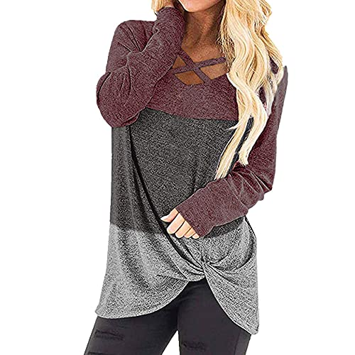 N\P Camiseta de manga larga a juego de colores para mujer