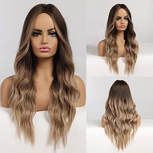 HAIRCUBE Lange Haar Perücken für Frauen Ombre Farbe Braun bis Blond Synthetische Lockige Haar Perücke Mittelscheitel