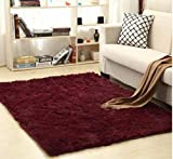 YONHAI Plush Soft Shaggy Alfombras Carpet Faux Fur Area Rug Non-Slip Floor Mats For Living Room Bedroom Home Decoration Supplies-Wine Red_140cm x 200cm