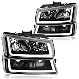 AUTOSAVER88 Headlight Assembly Compatible with 2003 2004 2005 2006 Avalanche Silverado 1500 2500 3500/2007 Chevrolet Silverado Classic Headlamp Black Housing Clear Lens and Reflector