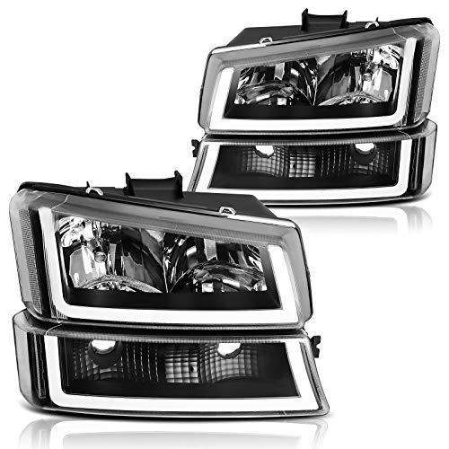 AUTOSAVER88 Headlight Assembly Compatible with 2003 2004 2005 2006 Avalanche Silverado 1500 2500 3500/2007 Chevrolet Silverado Classic Headlamp, Black Housing, Clear Lens and Reflector