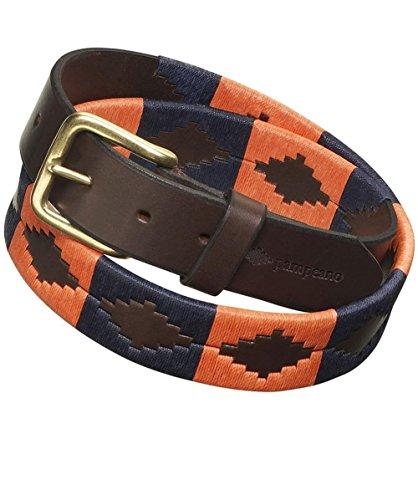 Pampeano ceinture de polo audaz en cuir Marine & Orange 34