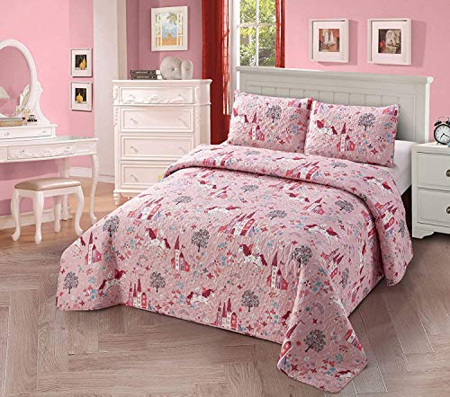 Luxury Home Collection Kids Toddlers Girls Bedspread Coverlet Quilt Bedding Set with Pillow Shams Multicolor Floral Fun Design Unicorn Castle Flowers Trees Rainbows Rose Pink Lavender (Full/Queen)