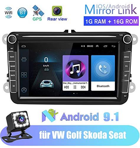 Android Autoradio für VW GPS Navigation, Luckdragon (8 Zoll) kapazitiver Touchscreen, BT-Stereo-Player, WiFi, FM-Radio-Empfänger, Dual USB für Golf Touran Jetta Polo Seat Sharan
