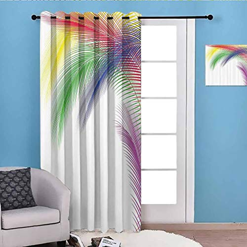 80' W x 84' L Colorful Home Decor Print Design Curtain for Bedroom Farmhouse Digital Exotic Peacock Feathers in Contrast Color Style Glamour Graphic Art Multi