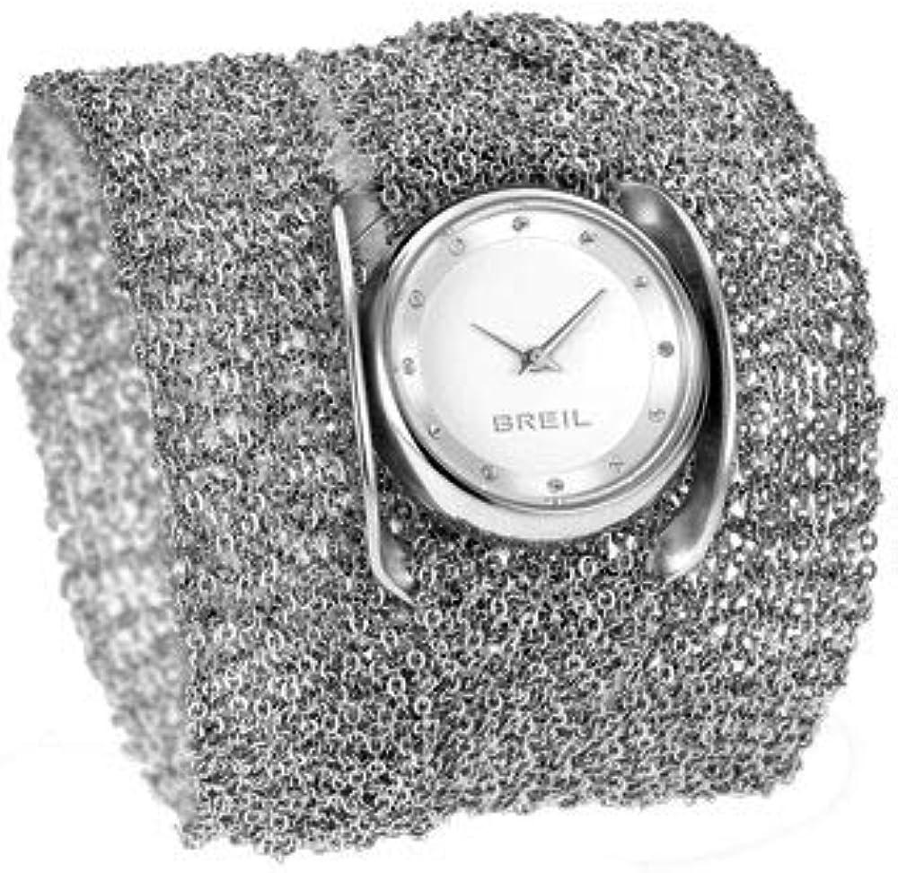 Breil orologio da donna cassa in acciaio lucido cinturino a più giri in maglia mesh e con swarovski agli indic Tw1245