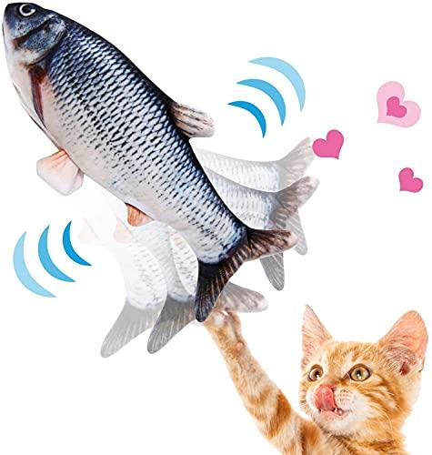 NINECY Katzenspielzeug Fisch Elektrisch, Katzen Spielzeug Zappelnder Fisch mit Katzenminze, Interaktive Spielzeug USB Wiederaufladbar Simulation Plüsch Fisch Kauen Spielzeug für Katzen, Kitty