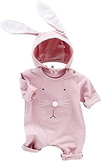 Cicilin Unisex Baby Romper Rabbit Jumpsuit Hooded Bunny Ears Jumpsuit Pyjamas