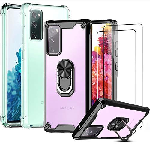 [4 PCS] IMBZBK 2pcs Funda para Samsung Galaxy S20 FE 4G&5G + 2pcs Protector Pantalla Cristal Templado, [opción múltiple] [Anti-caída] Caja del teléfono con anillo de metal giratorio & Transparente TPU