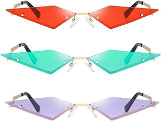 F Fityle - Gafas De Sol De Ojo De Gato Delgadas De Moda De 3 Piezas Gafas De Sol Sin Montura Gafas De Fiesta Streetwear