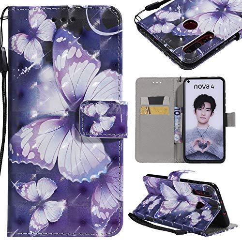nancencen Hülle Kompatibel mit Huawei NOVA 4, Leder Flip Hülle Brieftasche Etui Schutzhülle für Huawei NOVA 4 - Lila Schmetterling