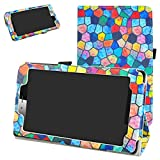 Mama Mouth vodafone Smart Tab Mini 7 / ALCATEL pixi 4 7 Funda, Slim PU Cuero con Soporte Funda Caso Case para 7' vodafone Smart Tab Mini 7 / ALCATEL pixi 4 7 Android Tablet 2016,Stained Glass
