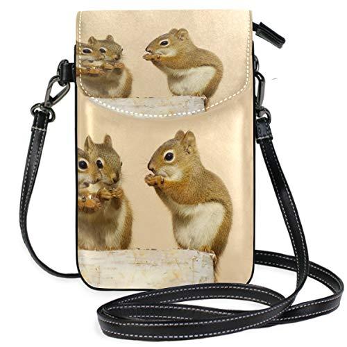 TIZORAX baby eekhoorns delen zonnebloemen zaden op berk log kleine Crossbody tas mobiele telefoon portemonnee portemonnee voor vrouwen meisjes