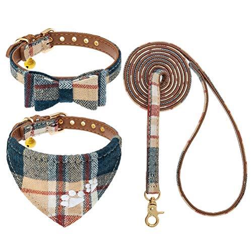 EXPAWLORER Set mit Fliege, Hundehalsband und Leine, kariert, verstellbar, Bandana und Halsband mit Glöckchen für kleine Hunde, Welpen, Katzen, 3 Stück