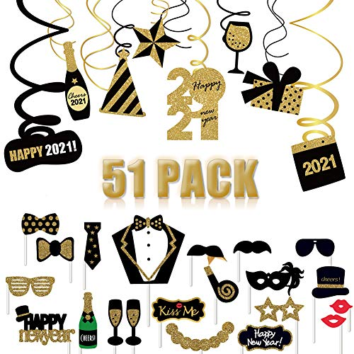51PACK Año Nuevo Kit de decoración, 30x Colgante remolinos & 21x Photo Booth Atrezzoc, Adornos de espirales serpentinas para 2021 Habitación Techo Fiesta decoración Suministros