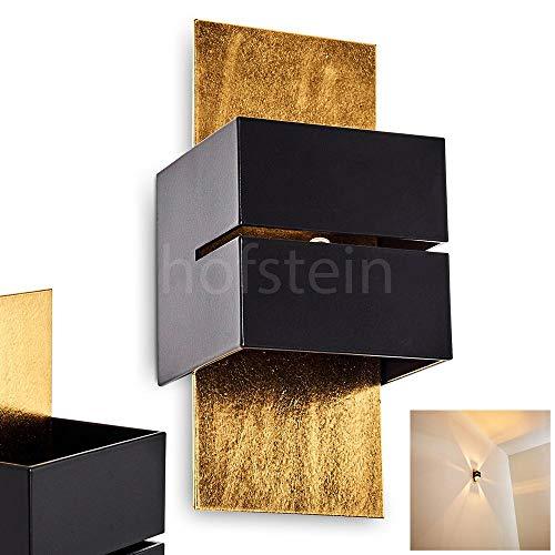 Wandlampe Tora aus Metall in Schwarz/Gold mit Schlitz, moderne Wandleuchte mit Lichteffekt, 1 x G9-Fassung, max. 28 Watt, Cube/Innenwandleuchte mit Up & Down-Effekt, geeignet für LED Leuchtmittel
