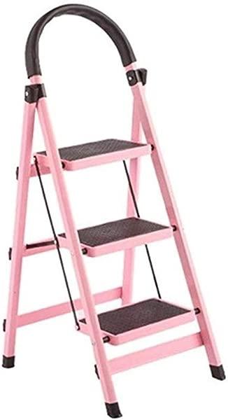 WYNZYTD Step Ladder 3 Steps Aluminum Alloy Folding Ladder Portable Footstool Suitable For Home Garden Office 3 Colors Color Pink