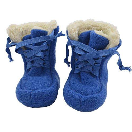 PICKAPOOH Baby Booties aus Wollwalk kbT mit Plüschfutter aus Bio-Baumwolle (1, Blau)