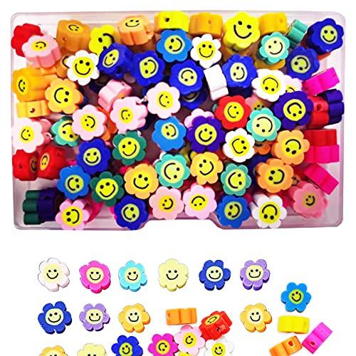 Perlas de arcilla polimérica, 100 unidades, con cara sonriente, flor, perlas de arcilla polimérica, 10 mm, para manualidades, collar, pulsera, accesorios hechos a mano