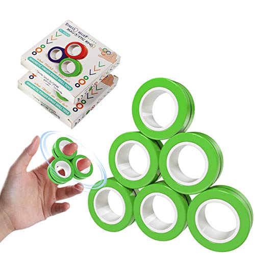 GGAME 6 Pcs Magnetic Rings Toys, Finger Fidget Spinner Magnetic Ring Magnetic Bracelet Ring Magical Ring Props Tools, Anti Stress Stress Relief Unzip Game Finger Toy for Man Woman Boys Girls (Green)