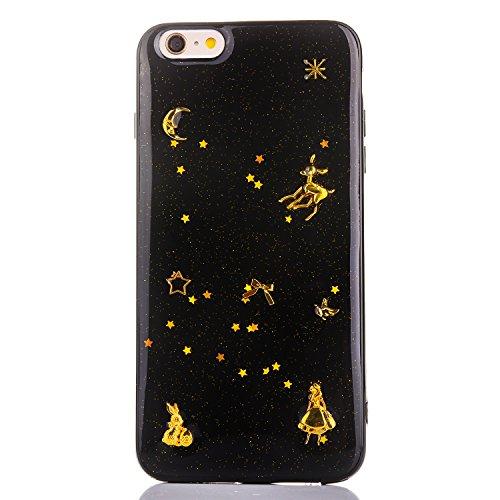 YFZYT Funda iPhone 7, Carcasa Resistente a Arañazos iPhone 8, Lujo Negro Brillante Espacio Diseño Estrellas de la Luna Planetas EstiloCarcasa Protectora Ultra Delgada para Apple iPhone 7/8, Negro#2
