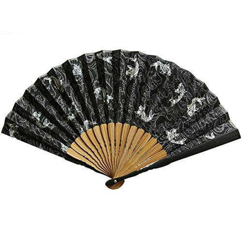 Kunze Abanico Plegable algodón, Hecho a Mano de bambú Ventilador de Mano Hombres 8.6' (22cm), Verano Ventilador portátil, patrón de la Carpa