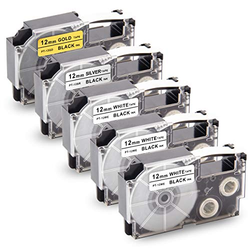 """Unismar Replacement for Casio XR-12WE XR-12GD XR-12SR 0.47in Label Tape for Casio KL60 KL-100 KL-120 KL-780 KL-750 KL-7000 KL7400 KL-2000 Label Maker, 1/2"""" x 26.2', Black on White/Gold/Silver, 5-Pack"""