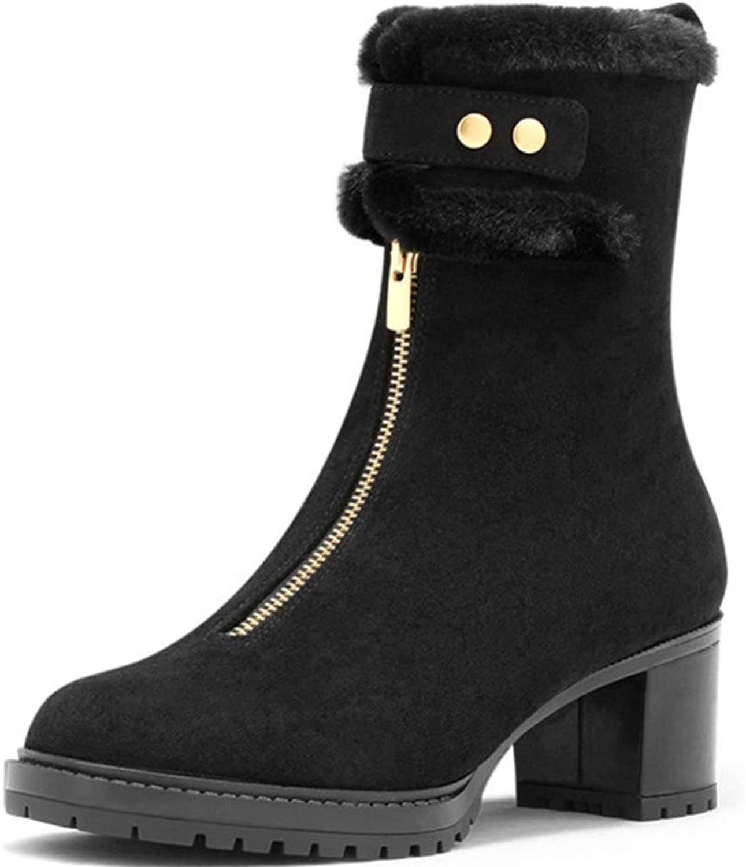 Shiney Women's Martin Boots Front Zip High-Heels Warm Plus Velvet Booties
