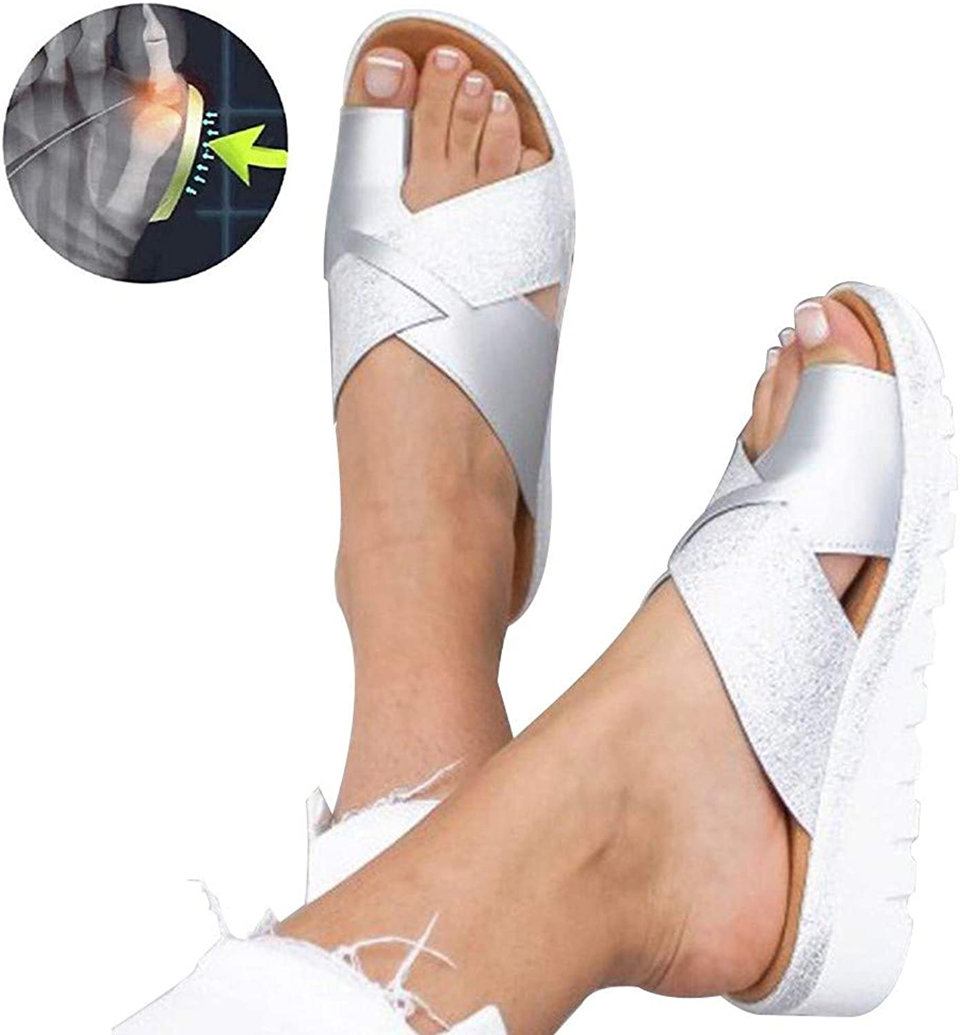 Foot Correction Sandals Summer Women shoes Flat Sole Patent Leather Slippers Non Slip Wear Resistant Comfortable Slippers for Orthopedic Big Toe Bone Correction Beach Travel Silver