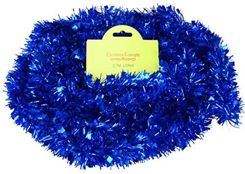 Christmas Concepts® 2.7m Meter Chunky / Fine Christmas Lametta - Weihnachtsdekoration - Hochwertige Lametta (blau)