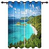 TARIZPPG Cortinas Opacas Playa Estampado Opacas Térmicas Aislantes con Ollaos para Niños Hogar Dormitorio Salón 220 * 215cm