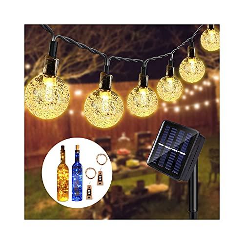 Catena Luminosa Esterno Solare,9.5M 50 Led Luci Solari per Giardino Impermeabile,Decorazione per Giardino, Feste, Matrimonio, Natale, Regalo con 2 Pezzi Luci per Bottiglia