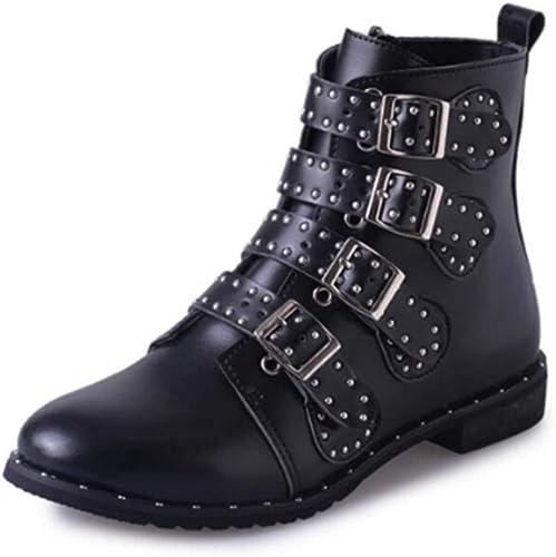 FMWLST Bottes Bottes pour Dames, Chaussures D Hiver, Rivet, Boucle, Courroie, Bottes De Moto, Chaussures De Ville pour Dames, Chaussures Décontractées Plates