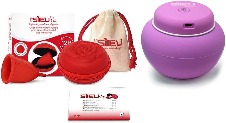 Sileu Travel Plus - Copa menstrual Sileu Rose, Talla S, Rojo, Flexibilidad Sport + Estuche en forma de flor Rojo, 8 cm + Esterilizador eléctrico ...