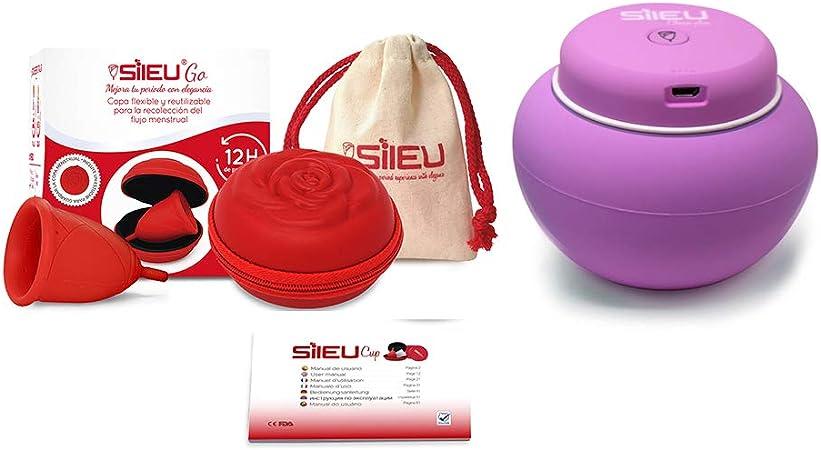 Sileu Travel Plus - Copa menstrual Sileu Rose, Talla S, Rojo, Flexibilidad Standard + Estuche en forma de flor Rojo, 8 cm + Esterilizador eléctrico ...