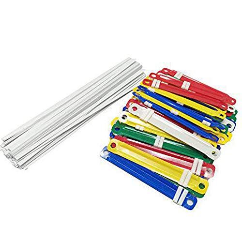 Hamosky 100pcs Papier Fasteners Kunststoff-Bindung Dokumente Dateien Fasteners Clamps,Farbe