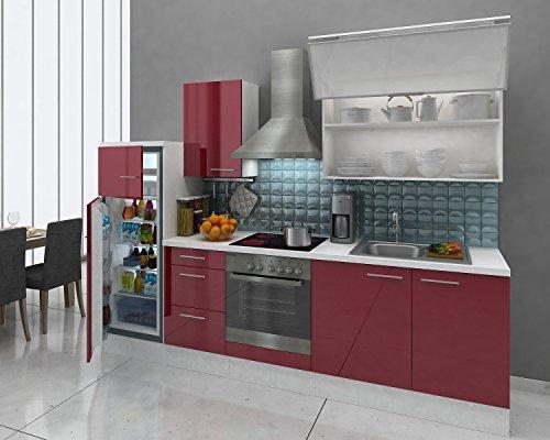 respekta Premium Einbau Küche Küchenzeile 280cm weiss rot Glanz Ceran Kühlkombi