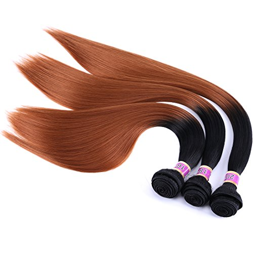 Silky Straight Hair Extensions Synthetic Hair Weave 3 Bundles Two Tone Ombre Color T1/30 (16' 18' 20')