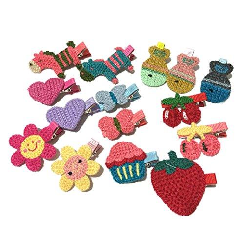 K-youth® 15 piezas pinzas para el cabello niñas princesa estilo de pelo hebilla tejido de punto horquilla infantil para niñas horquillas para el pelo niña bebe gran disfraz para vestir (Multicolor)