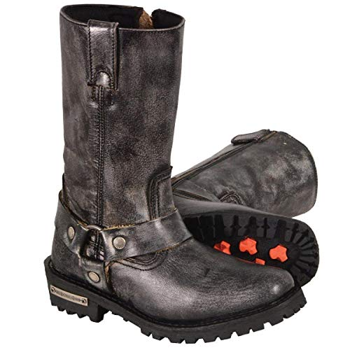 Milwaukee Leather MBL9362 Womens 11 Inch Distressed Grey Classic Harness Square Toe Leather Boots - 9.5