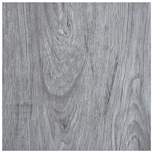 vidaXL Laminat Dielen Selbstklebend Schimmelbeständig Antiallergen Wasserfest Bodenbelag Vinylboden Fußboden Designboden 5,11m² PVC Hellgrau