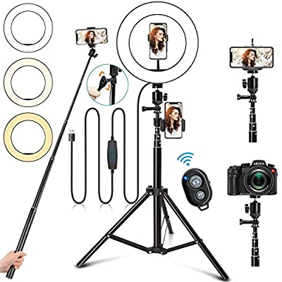 "Selfie Ring Light with Stand, 10"" Ring Light with Tripod Stand &3 Phone Holder, Dimmable LED Ring Light for iPhone Desktop Selfie Light Ring Led Camera Ringlight for Live Stream/Makeup/YouTube/TikTok by Jurgen K"
