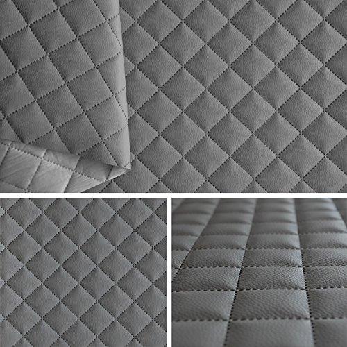 FORTISPOLSTER Kunstleder PVC gesteppt kaschiert 5x5cm Farbe: Grau T191 09