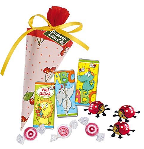 STEINBECK Schultüte gefüllt 15 cm Kirschen rot Einschulung Schulkind Schulstart Geschenk Zuckertüte Bonbons Schokolade Geschenk Mitbringsel
