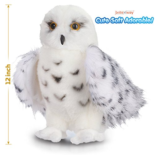 Premium Quality Snowy White Plush Hedwig Owl Toy – Large 12-Inch tall - Adorable Stuffed Animal – Extremely Soft, Cuddly Fluffy –Excellent Detail –Perfect Gift Idea for Bird Lovers & Harry Potter Fans