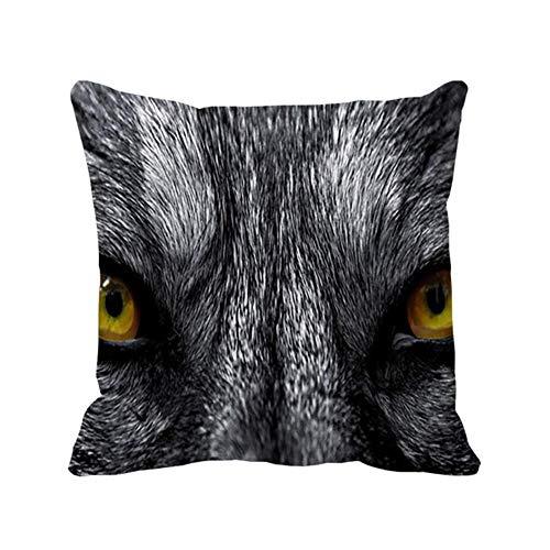 Funda de Almohada Cuadrada para Interior y Exterior con Ojos de Lobo